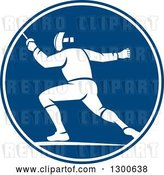 Vector Clip Art of Retro Guy Fencing in a Blue and White Circle by Patrimonio