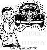 Vector Clip Art of Retro Guy Holding a Car by BestVector