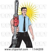 Vector Clip Art of Retro Guy Holding a Gas Station Pump Nozzle by Patrimonio