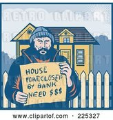 Vector Clip Art of Retro Guy Holding a House Foreclosed by Bank, Need Money Sign by His Home by Patrimonio
