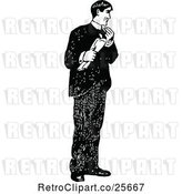 Vector Clip Art of Retro Guy Holding a Newspaper by Prawny Vintage