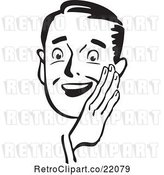 Vector Clip Art of Retro Guy Holding His Hand Around His Mouth by BestVector