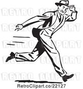 Vector Clip Art of Retro Guy Holding onto His Hat While Running by BestVector