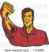 Vector Clip Art of Retro Guy Holding up a Fist by Patrimonio