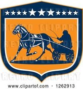 Vector Clip Art of Retro Guy Horse Harness Racing in a Blue White and Orange Shield by Patrimonio