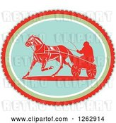 Vector Clip Art of Retro Guy Horse Harness Racing in an Oval by Patrimonio