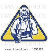 Vector Clip Art of Retro Guy in a Chemical Hazard Suit by Patrimonio