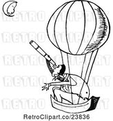 Vector Clip Art of Retro Guy in a Hot Air Balloon, Looking at the Guy on the Moon with a Telescope by Prawny Vintage