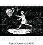 Vector Clip Art of Retro Guy in a Rain Storm by Prawny Vintage