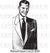 Vector Clip Art of Retro Guy in a Suit by BestVector