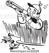 Vector Clip Art of Retro Guy in Reeds, Shooting at Ducks by BestVector