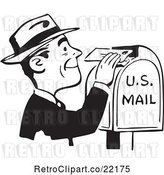 Vector Clip Art of Retro Guy Inserting a Letter in a Postal Box by BestVector