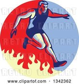 Vector Clip Art of Retro Guy Jumping over a Fire in an Obstacle Race Inside a Blue Red and Tan Circle by Patrimonio