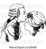 Vector Clip Art of Retro Guy Kissing a Womans Forehead by Prawny Vintage