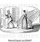 Vector Clip Art of Retro Guy Looking at a Lady by Stairs by Prawny Vintage