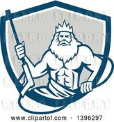 Vector Clip Art of Retro Guy, Neptune, Holding Pressure Washer Wand in a Blue White and Gray Shield by Patrimonio