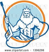 Vector Clip Art of Retro Guy, Neptune, Holding Pressure Washer Wand in an Orange White and Blue Circle by Patrimonio