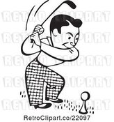 Vector Clip Art of Retro Guy on a Golf Course by BestVector
