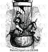 Vector Clip Art of Retro Guy on a Horse in a Hot Air Balloon by Prawny Vintage