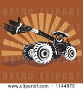 Vector Clip Art of Retro Guy Operating a Armed Tractor over Brown Rays by Patrimonio