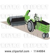 Vector Clip Art of Retro Guy Operating a Green Tractor by Patrimonio