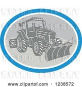 Vector Clip Art of Retro Guy Operating a Snow Plow in an Oval by Patrimonio