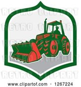 Vector Clip Art of Retro Guy Operating an Excavator Machine in a Green White and Gray Shield by Patrimonio