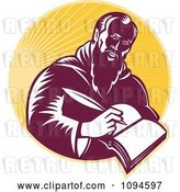 Vector Clip Art of Retro Guy or St Jerome Writing in a Book over Rays by Patrimonio