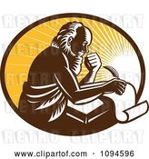 Vector Clip Art of Retro Guy or St Jerome Writing on a Page over Rays by Patrimonio