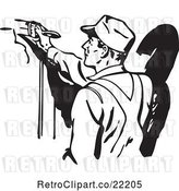 Vector Clip Art of Retro Guy Painting by BestVector