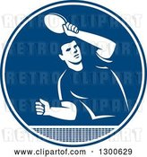 Vector Clip Art of Retro Guy Playing Table Tennis in a Blue and White Circle by Patrimonio