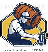 Vector Clip Art of Retro Guy Pouring Beer into a Mug from a Barrel over a Yellow Hexagon by Patrimonio