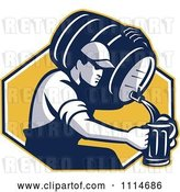 Vector Clip Art of Retro Guy Pouring Beer into a Mug from a Keg over a Yellow Hexagon by Patrimonio