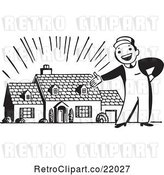 Vector Clip Art of Retro Guy Presenting a New Home by BestVector