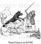 Vector Clip Art of Retro Guy Protecting a Lady from Wild Dogs by Prawny Vintage