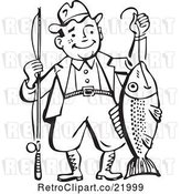 Vector Clip Art of Retro Guy Proudly Holding His Catch by BestVector