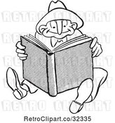 Vector Clip Art of Retro Guy Reading a Book by Picsburg