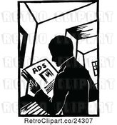 Vector Clip Art of Retro Guy Reading Ads by Prawny Vintage
