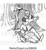 Vector Clip Art of Retro Guy Repairing an Arrow in the Forest by Prawny Vintage
