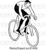 Vector Clip Art of Retro Guy Riding a Bicycle 2 by Prawny Vintage