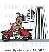 Vector Clip Art of Retro Guy Riding a Vespa in a City by Patrimonio
