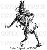 Vector Clip Art of Retro Guy Riding a Wild Horse by Prawny Vintage