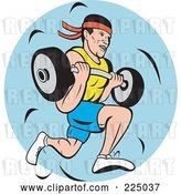 Vector Clip Art of Retro Guy Running and Carrying a Barbell Logo by Patrimonio