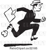 Vector Clip Art of Retro Guy Running with a Document by BestVector