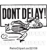Vector Clip Art of Retro Guy Running with a Dont Delay Sign by BestVector