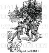 Vector Clip Art of Retro Guy Saving a Boy from Falling off a Cliff by Prawny Vintage