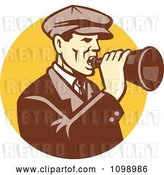 Vector Clip Art of Retro Guy Shouting into a Bullhorn over a Yellow Circle by Patrimonio