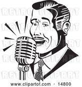 Vector Clip Art of Retro Guy Singing or Announcing into a Microphone by Andy Nortnik
