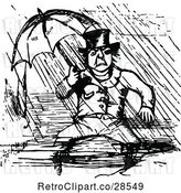 Vector Clip Art of Retro Guy Sitting in the Rain Under an Umbrella by Prawny Vintage