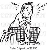 Vector Clip Art of Retro Guy Sitting on a Stool by BestVector